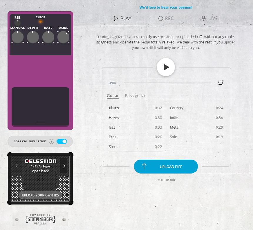 Платформа для онлайн-тестирования гитарных педалей